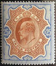 BRITISH INDIA 1902-1911 KEVII RS25/- (MH) BROWNISH ORANGE & BLUE LARGE PART O.G