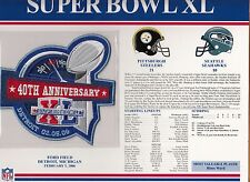 2006 SUPER BOWL XL SB 40 PATCH PITTSBURGH STEELERS SEATTLE SEAHAWKS WILLABEE