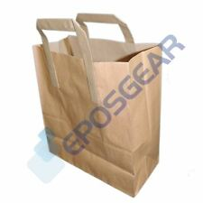 250 Medium Brown SOS Kraft Takeaway Food Party Gift Paper Handle Carrier Bags