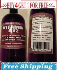 VITAMIN B12 5,000mcg METHYLCOBALAMIN ENERGY 100%  PURE LIQUID BOTTLE 16oz