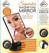 LIGHT UP MAKE UP MIRROR 16 LED WITH 5X MAGNIFYING STORAGE COMPARTMENT VANITY