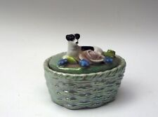 Antique Porcelain Elfinware Smooth Fox Terrier dog Jack Russell Trinket box