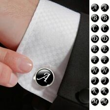 A-Z Single Alphabet Letter Cuff Links Black Button For Men Shirt Fashion Gifts