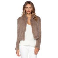New Women's 100% Genuine Real Knit Knitted Rabbit Fur Jacket Short Coat Overcoat