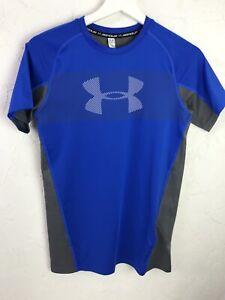 Under Armour Juniors Heat Gear Base Layer Top Sports Blue Grey Size YXL L177