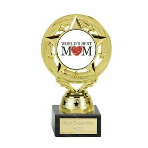 World's Best Mom Trophy 14 cm on marble base FREE Engraving up to 30 Letters