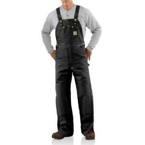NEW!!  Carhartt Men's Duck Bib Overall -Quilt-Lined - R02 BLACK
