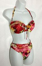 NEW SHAN Floral Underwire Halter Bikini 2 Piece Swimsuit Size 12 B Reatil $258