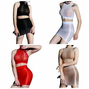 Women Glossy See-through Crop Tops with Slim Fit Hip Skirt Bodycon Lingerie Set