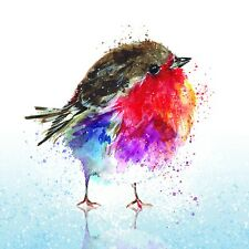Charity Christmas Card Pack of 10 Cards - Colourful Robin on Ice - Glitter