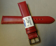 ZRC France Red Padded Water Resistant Leather 18mm Watch Band Gold Tone Buckle