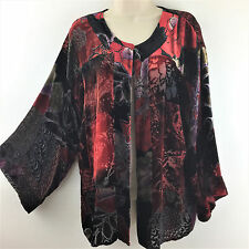 Chicos 2 Open Silk Rayon Velvet Floral Patch Cardigan Jacket Top Size M L 12 14