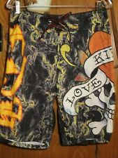 9a0e56c399 Ed Hardy Love Kills Slowly Smoking Love Board Swim Surf Shorts Trunks Men's  31