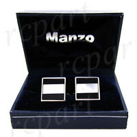 New Men's Cufflinks cuff links square mother of pearl Black white stripes prom
