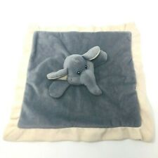 Baberoo Elephant Baby Lovey Security Blanket Plush Gray Blankie Ivory Grey 12x12