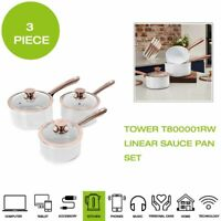 *Brand New* Tower T800001RW Linear Sauce Pan Set, 3 Piece - White/Rose Gold