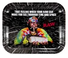 """RAW Rolling Papers """"OOPS - TIME and SPACE"""" Metal Rolling Tray - LARGE 11""""x13"""""""