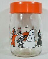 Vtg 1980's CARLTON Glass Lidded Jar Halloween Retro Candy Cookie Jar