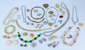 40 Pc LOT Vintage RHINESTONE Repair Jewelry Coro Lisner Carnelian AB Faux Pearl