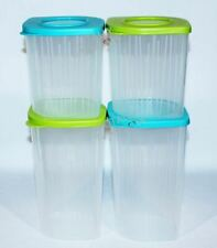Tupperware Fresh N Cool Set of 4 Modular Containers 4.25 & 6.5 Cups Blue & Green
