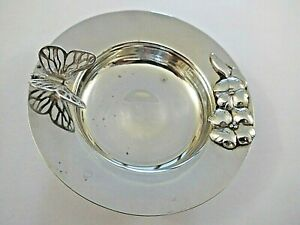 RETRO STERLING SILVER PIN DISH WITH BUTTERFLY/FLOWER DETAIL LONDON H/M 1988 52gm
