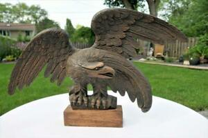 """VINTAGE FOLK ART HAND CARVED WOOD EAGLE BIRD SCULPTURE 25"""" WING SPAN SIGNED"""