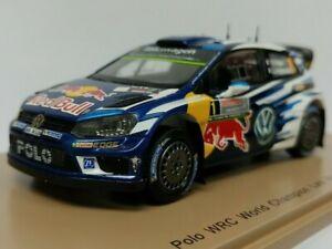 ==== Spark 1:43 VW Polo WRC 2016 Blue White Red Bull #1 (Black Sleeve) ====