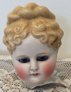 Antique Blonde Parian With Original Elongated Colbalt Eyes - Damaged!
