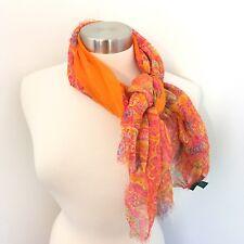 Ralph Lauren Scarf 100% Silk Orange Sheer Paisley