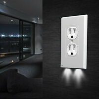 4Pcs LED Night Angel Light Wall Outlet Coverplate Sensor Plug Cover 2 Bright USA