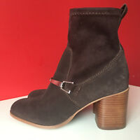NEXT Soft Suede Leather Block Heel Side Zip Up Ankle Boots UK 5 EUR 38 BNWT £75
