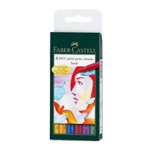 Faber-Castell Pitt Pen Brush Wallet Premium Artist Basic Colours (6pk)