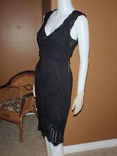 NWT GUESS  Jet black Gorgeous Knit Sparkle Pointelle dress size S Retail $108