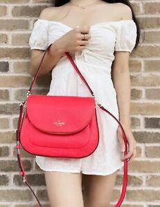 Kate Spade Leila Medium Flap Shoulder Bag Crossbody Leather Geranium Coral Pink