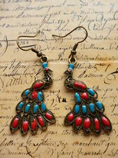 Vintage Bronze Blue and Red PEACOCK Jewellery Dangle Earrings