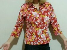 LORENZINI red multi floral Button Down Shirt Top Sz 5 (US M)  md in Italy