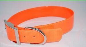 "1"" Plastic Coated Nylon Bright Orange Dog Collar Made In USA"