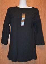 Womens Black NorthCrest 3/4 Sleeve Shirt Size Small NWT NEW