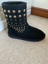 Genuine Mou Black Suede Leather Short Gold Studded Boots Uk 6 Eur 39 Wool Lined