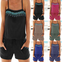 Women Holiday Casual Mini Playsuit Ladies Jumpsuit Summer Beach Dress Rompers UK