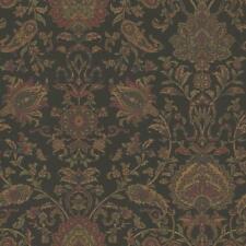 Wallpaper Van Luit Black Brown Red Green Navy Jacobean Floral Faux Tapestry