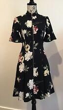 STUNNING CUE BLACK & FLORAL PRINT DRESS SIZE 8
