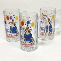 Vintage Spuds Mackenzie Bud Light Mug Beer Stein 3 Set 1987 Barware Glasses