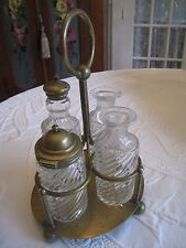 VINTAGE~CONDIMENT GOLD TONE BRONZE 5 PC. CADDY #270