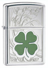 "Zippo ""4 Leaf Clover-Shamrock"" High Polish Chrome Lighter, Full Size, 24699"