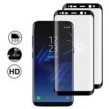 """2x Films Protection Écran Verre Trempé Bord Incurvé NOIR Samsung Galaxy S8 5.8"""""""