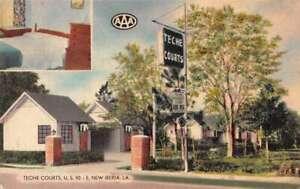 New Iberia Louisiana Teche Courts Linen Vintage Postcard AA30129