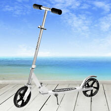 Folding Kick Scooter Adult Kids 2-200mm Big PU Wheels Portable Adjustable Silver