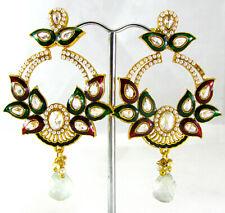 BRIDAL INDIAN EARRING GOLD BRASS ETHNIC WEAR PEACOCK LONG EARRINGS WEDDING