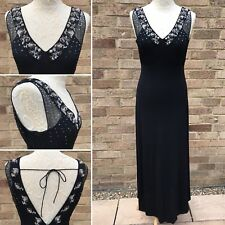 Monsoon Evening Dress UK 10 Black Sequin Bead 20s Art Deco Gatsby Flapper Party
